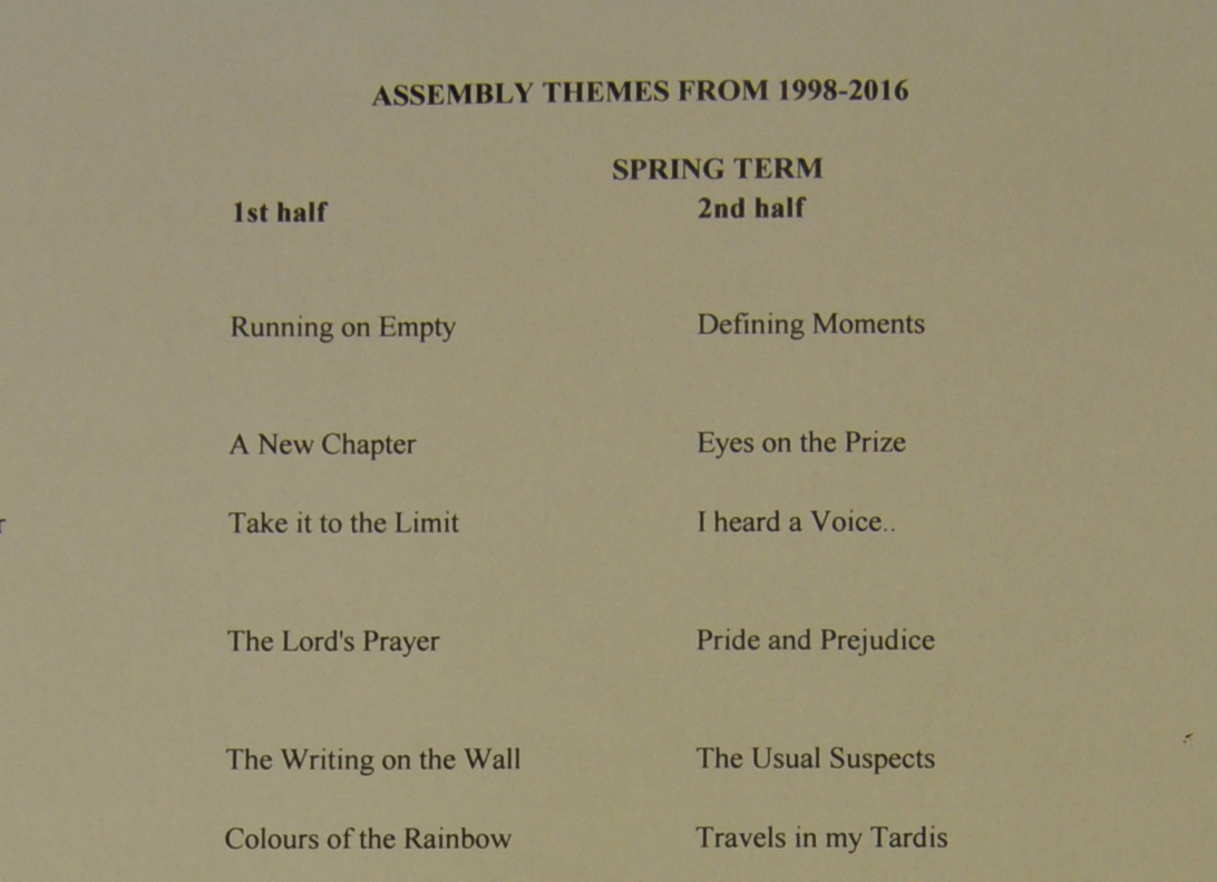 The Assembly Themes Letter Caistor Grammar School