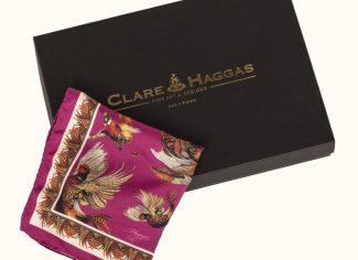 Clare Haggas Turf War Gentlemen Pocket Square – Magenta