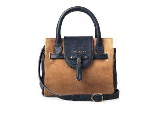 Fairfax & Favor – The Mini Windsor Handbag – Tan & Navy Leather