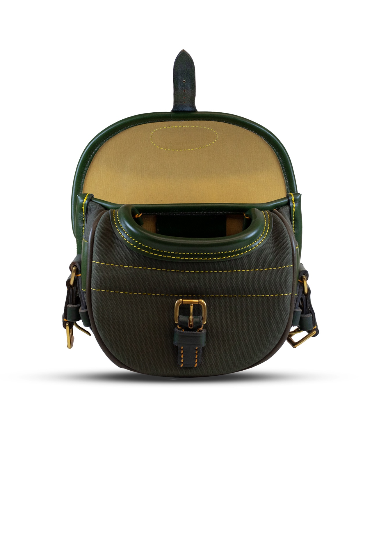 Canvas & Leather Cartridge Bag (75) – Green/Green Trim