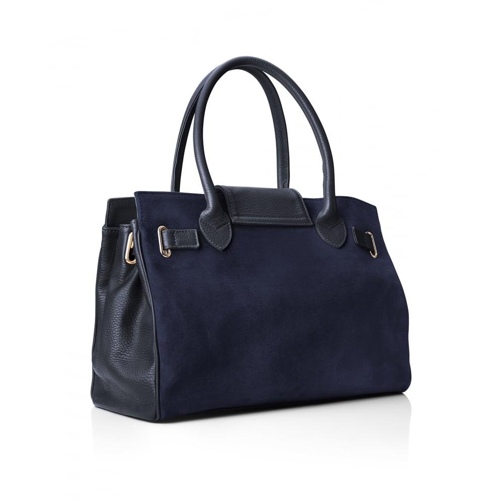 Fairfax & Favor – The Windsor Handbag – Navy Leather & Suede