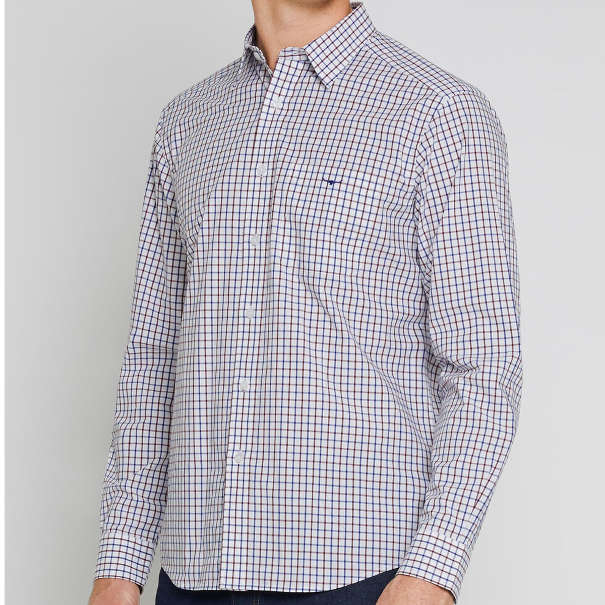 RM Williams Collins Button Down Shirt – Large Check- Navy/ Burgundy/ White