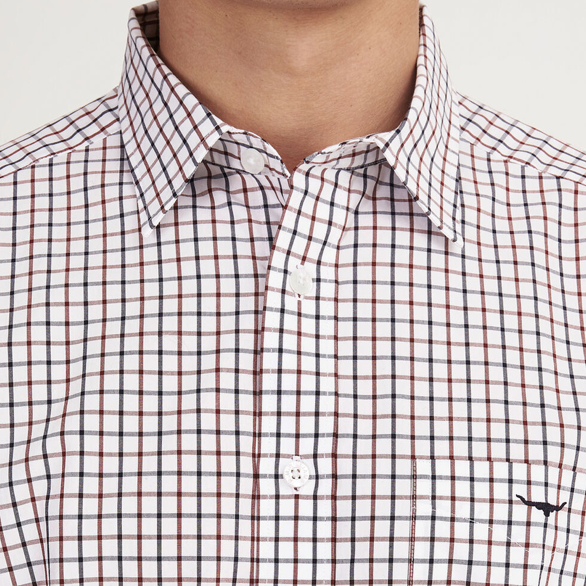 RM Williams Collins Button Down Shirt – Large Check- White/ Blue/ Rust