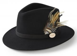 Hicks & Brown The Suffolk Fedora (Guinea & Pheasant Feather) – Black