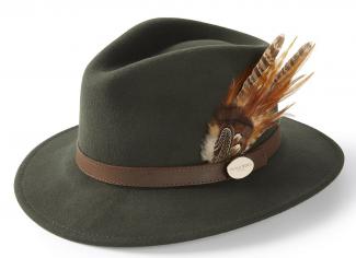 Hicks & Brown The Suffolk Fedora (Gamebird Feather) – Olive Green