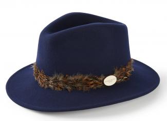 Hicks & Brown The Suffolk Fedora (Pheasant Feather Wrap) – Navy