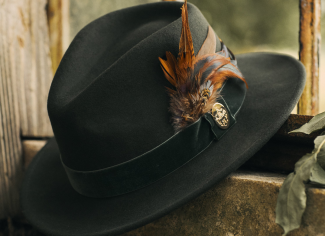 Hicks & Brown The Chelsworth Fedora (Coque & Pheasant Feather) – Olive Green