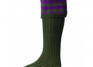 House of Cheviot Chessboard Sock – Spruce/ Bilberry