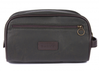 Barbour Wax Washbag – Olive/ Brown