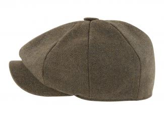 Schoffel Newsboy Cap – Loden Green Herringbone Tweed