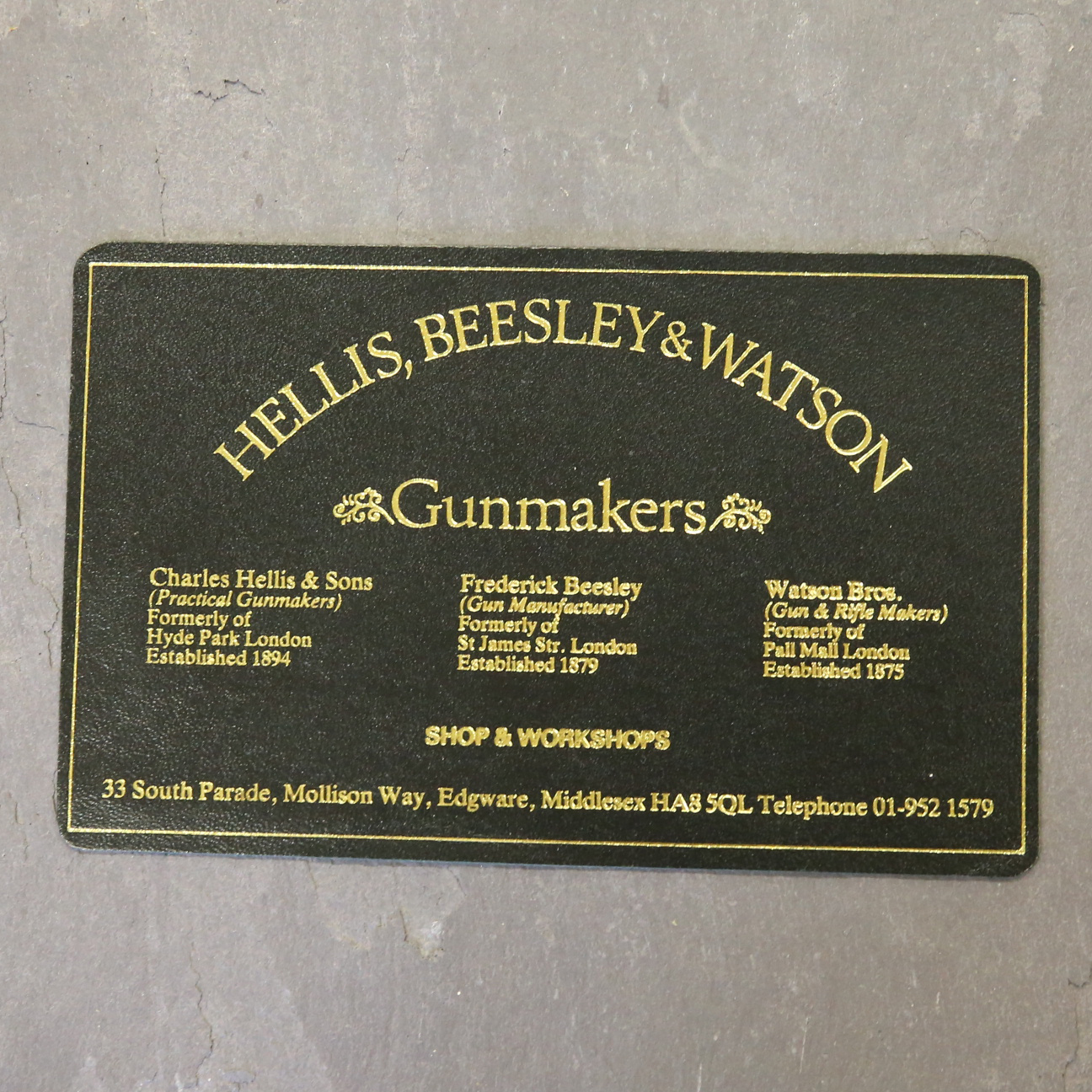 Hellis, Beesley & Watson Leather Case Label