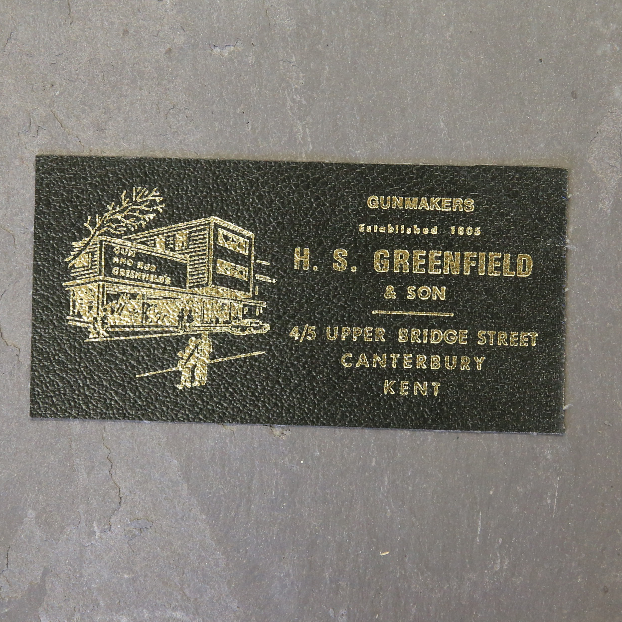 H.S Greenfield Leather Case Label