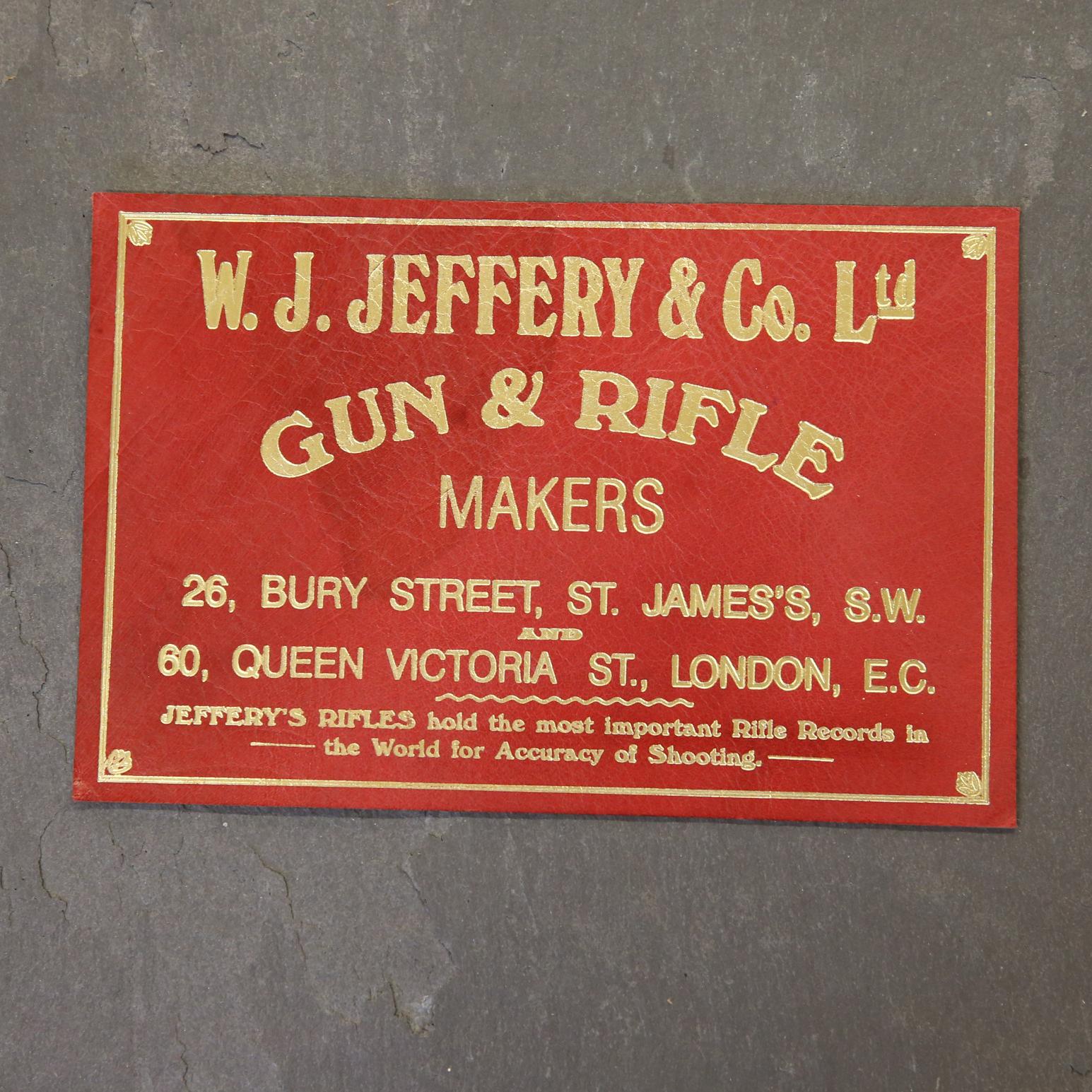 W J Jeffery & Co Leather Case Label