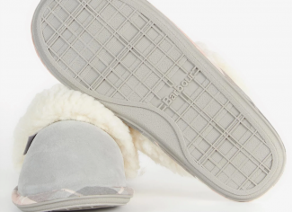 Barbour Lydia Mule Slippers – Grey Suede