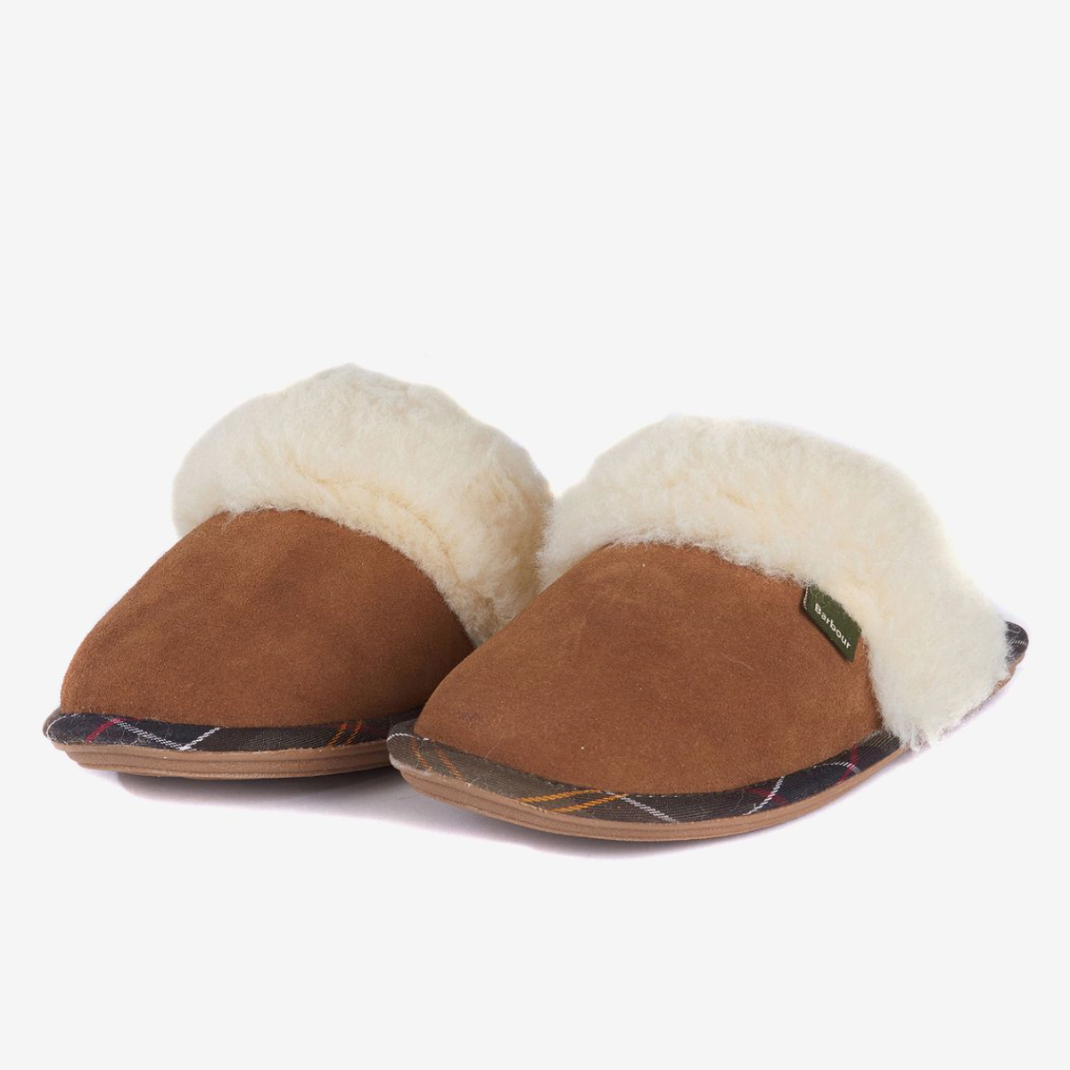 Barbour Lydia Mule Slippers – Camel Suede
