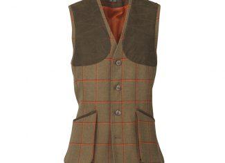 Laksen Hivis Leith Shooting Vest – Orange Tweed Check