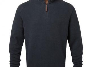 Schoffel Cotton French Rib 1/4 Zip – Navy