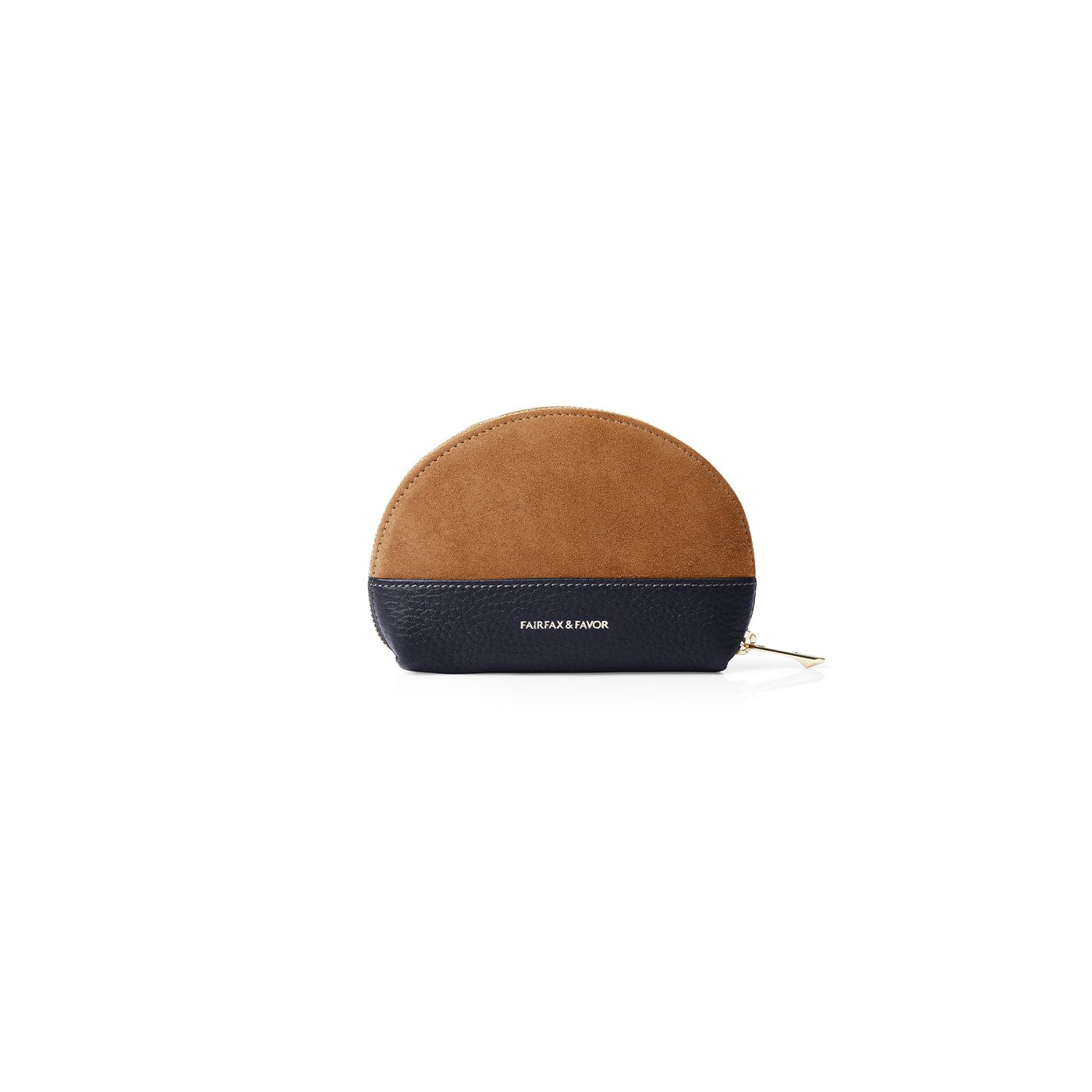 Fairfax & Favor – The Chiltern Coin Purse – Tan Suede/ Navy Leather