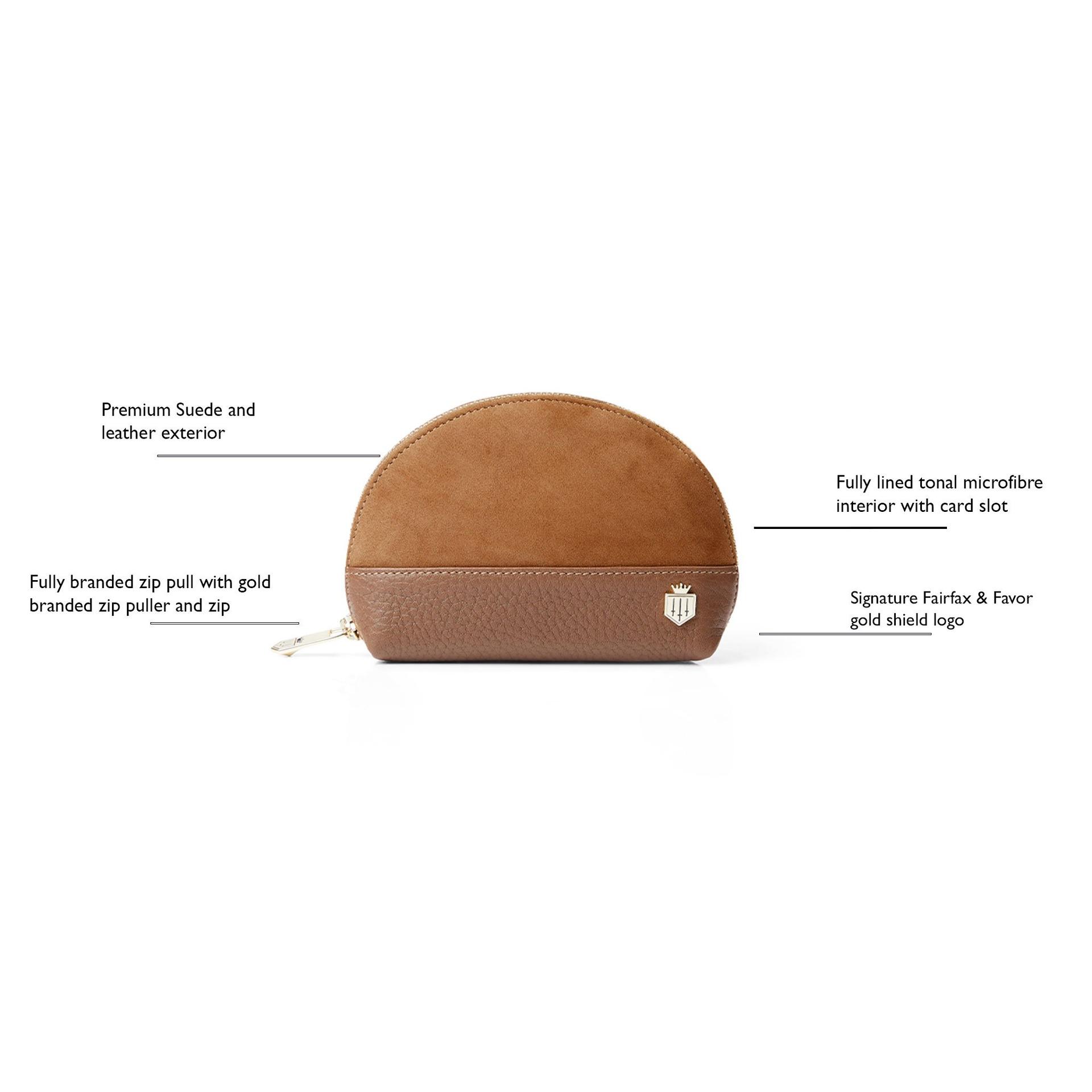 Fairfax & Favor – The Chiltern Coin Purse – Tan Suede/ Tan Leather