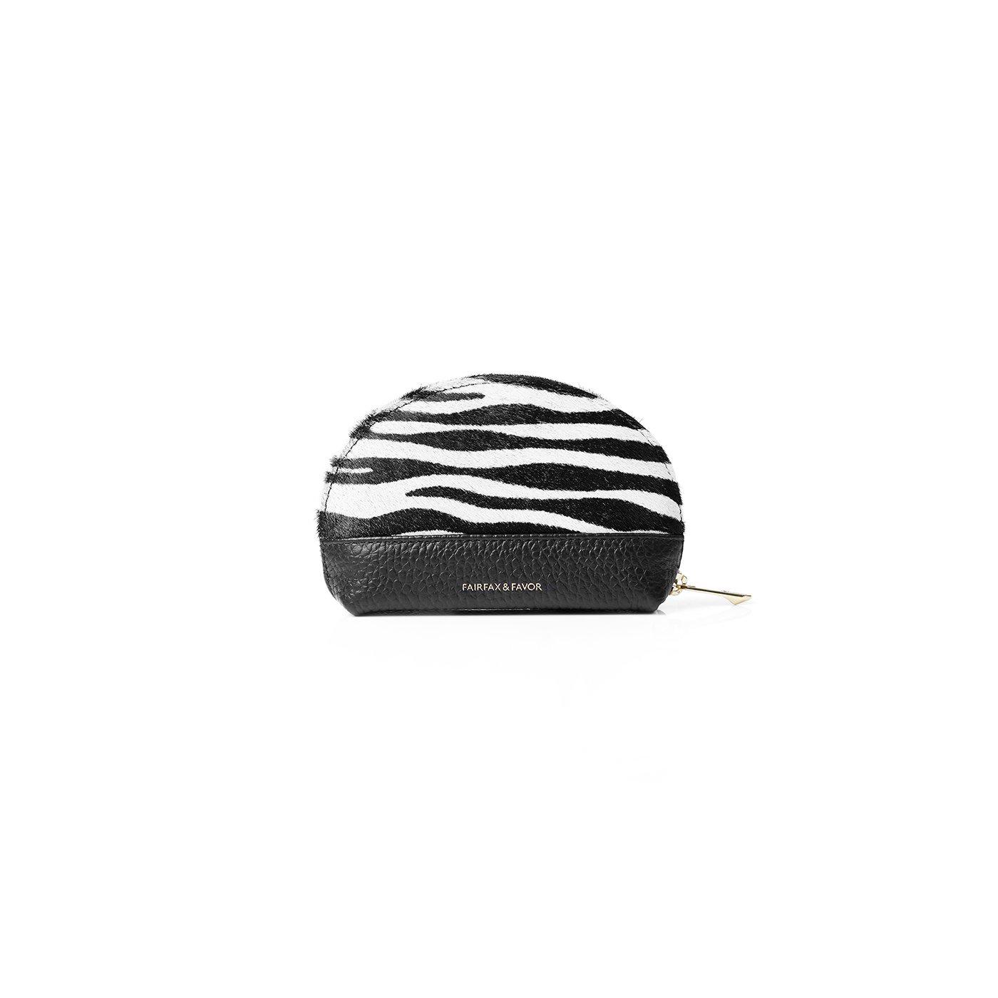 Fairfax & Favor – The Chiltern Coin Purse – Zebra Haircalf/ Black Leather