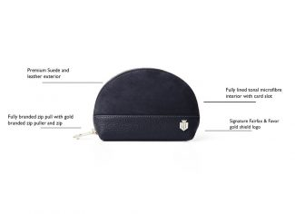 Fairfax & Favor – The Chiltern Coin Purse – Navy Suede/ Navy Leather