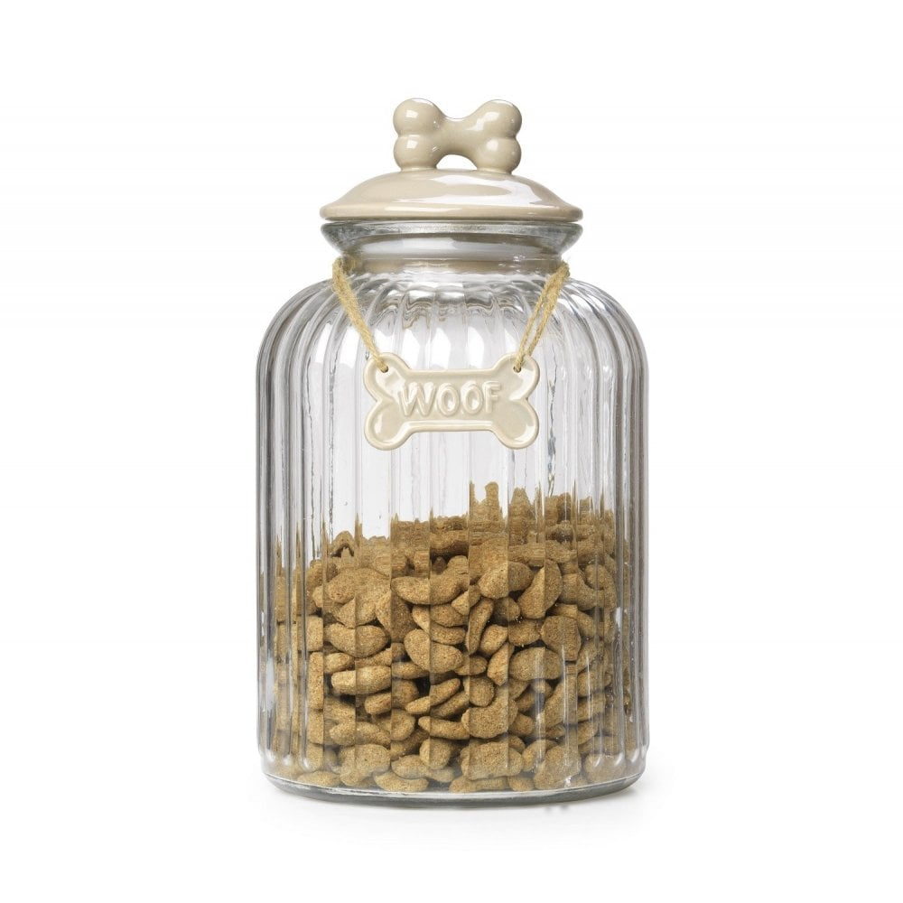 House of Paws Woof Glass Treat Jar – Mink