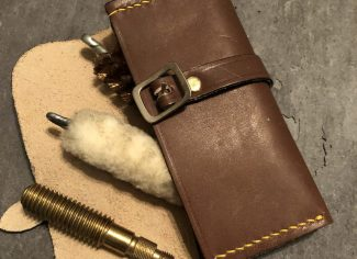 Brush, jag & mop leather pouch in brown