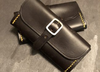 Brush, jag & mop leather pouch in dark brown