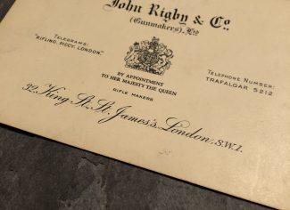 John Rigby & Co paper case label