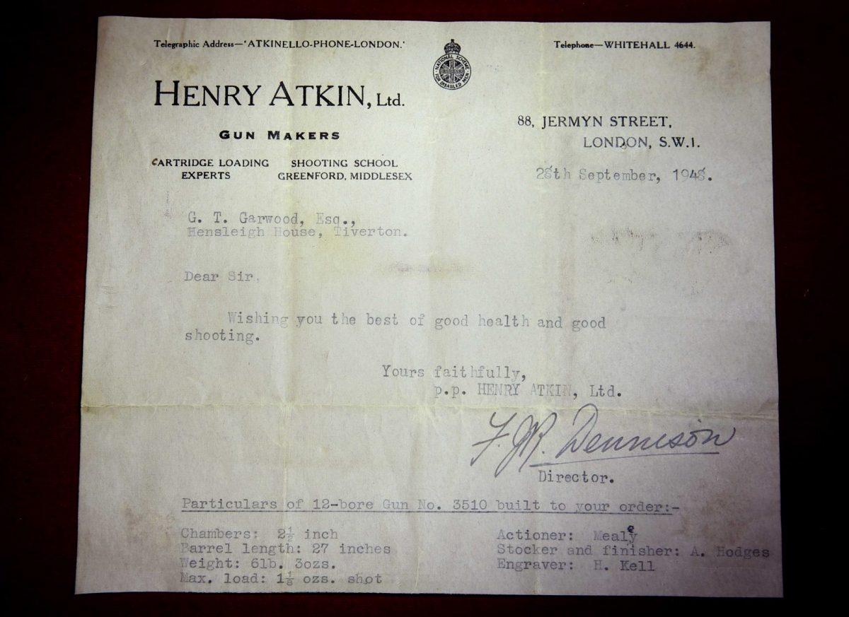 Gough Thomas's Henry Atkin 12g Spring Opening Sidelock