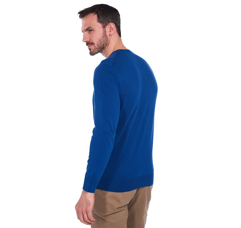 Barbour Light Cotton Crew Neck Sweater – Bright Blue