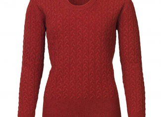 Laksen Burleigh Lambswool Cable Knit Jumper – Winy Red