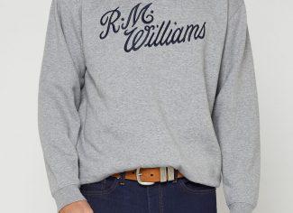 RM Williams Script Crew Neck Jumper – Grey Blue