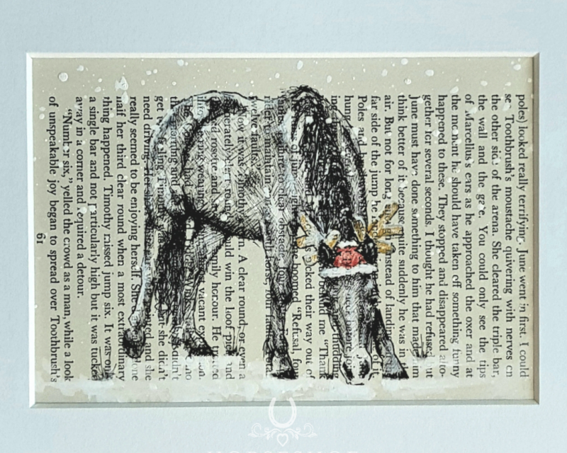 Christmas Pony Pen & Ink Drawing on Vintage Page