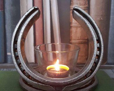 Mounted Horseshoe With Candle Holder