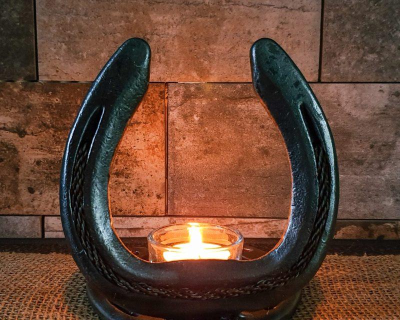 Braided Horsehair Horseshoe & Candle Holder