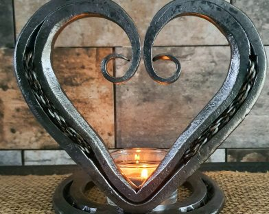 Braided Horsehair Scroll Heart & Candle Holder