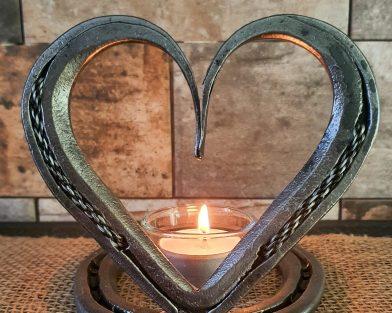 Braided Mounted Horseshoe Heart & Candle Holder