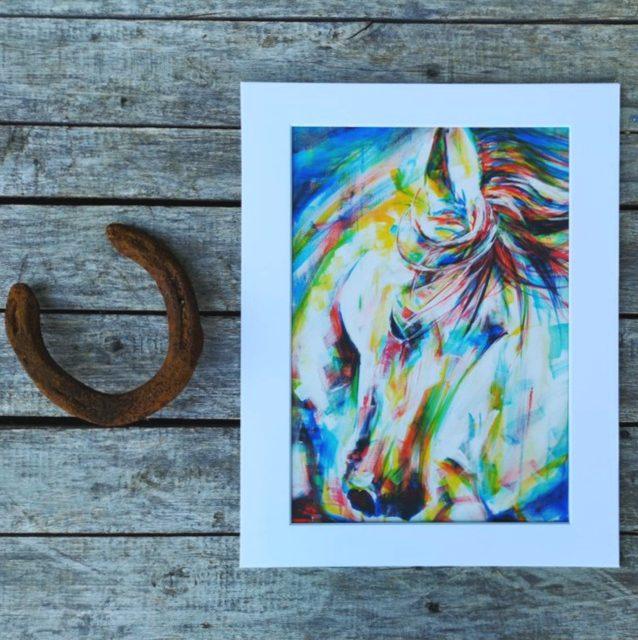 Courage Rainbow Horse Art Print