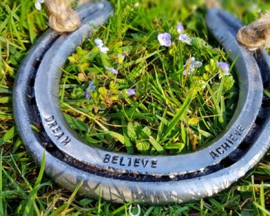Dream, Believe, Achieve Quote Lucky Horseshoe
