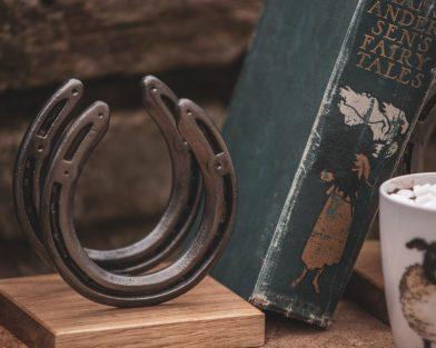 Horseshoe & Oak Bookends