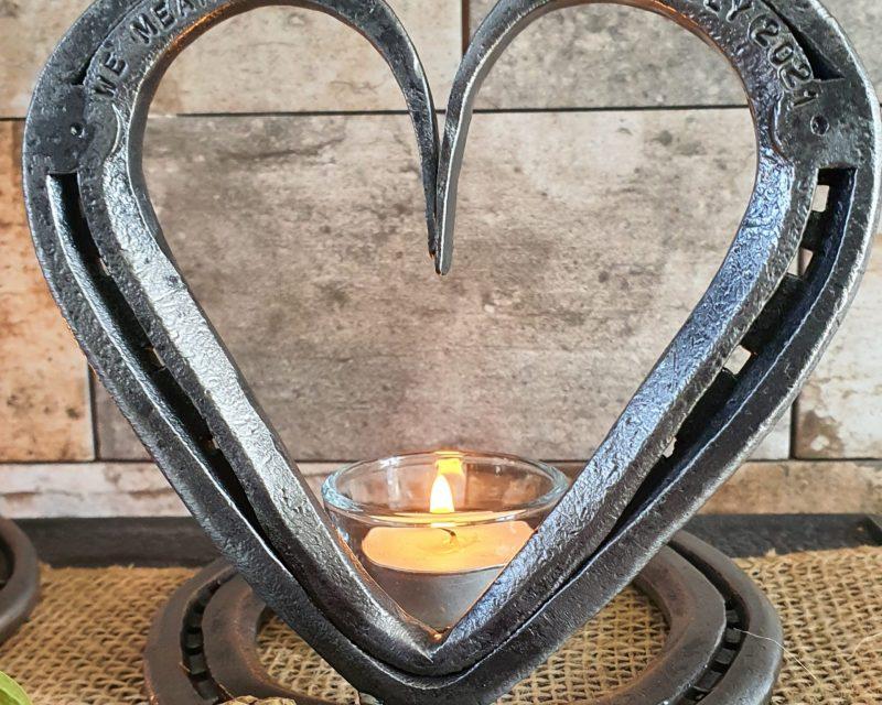 Mounted Horseshoe Heart with Candle Holder