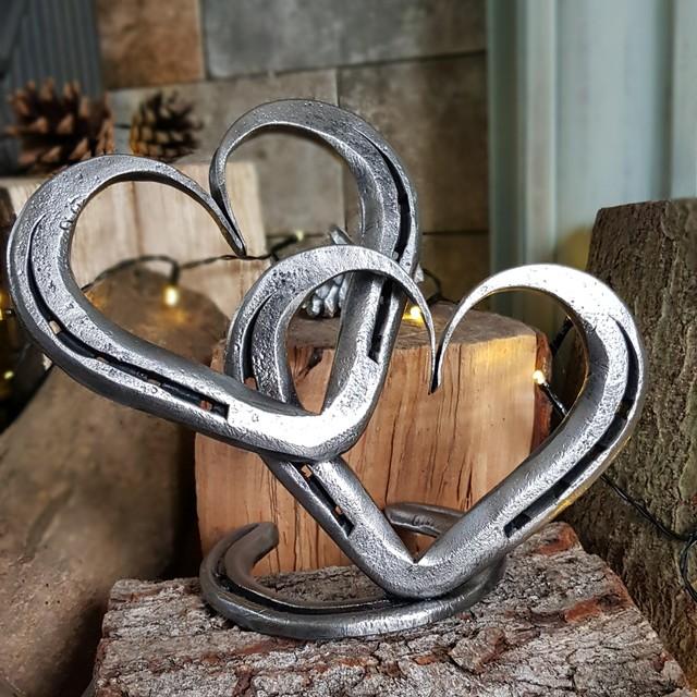 Linked Horseshoe Hearts Sculpture