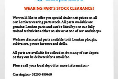 LEMKEN PARTS STOCK CLEARANCE