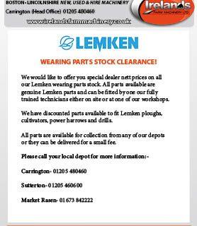 LEMKEN PARTS STOCK CLEARANCE