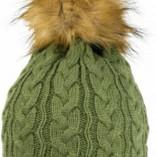 JACK PYKE LADIES CABLE KNIT HAT – LIGHT OLIVE