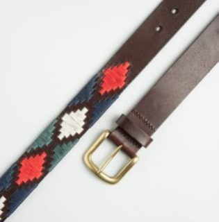 POLO BELT BROWN-BLUE-RED-GREEN PATTERN BY IBEX 30030
