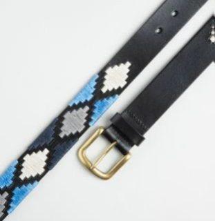 POLO BELT BLACK-NAVY-BLUE-WHITE PATTERN BY IBEX 30031