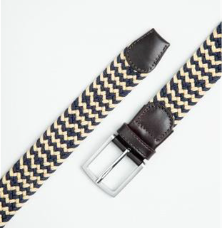 WOVEN LEATHER/ELASTIC BEIGE-NAVY BELT BY IBEX 203