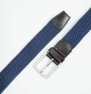 WOVEN LEATHER/ELASTIC NAVY BELT BY IBEX 205